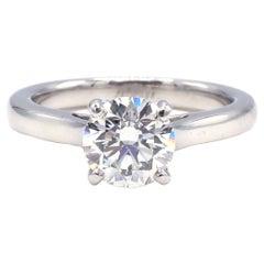 GIA Certified 1.39 Carat H VS1 Round Diamond Solitaire Platinum Engagement Ring