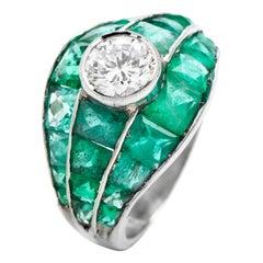 Vintage 6.75cts Diamond Emerald Platinum Engagment Cocktail Ring