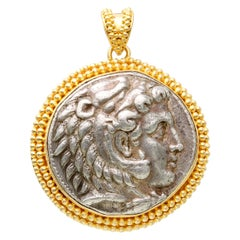 4th Century BC Authentic Alexander The Great Coin 18K Gold Pendant