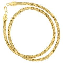 Kent Raible 18 Karat Gold Hand Woven Chain, Shepherd's Hook Clasp, Granulation