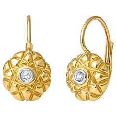 18kt Yellow Gold .09ctw Round Diamond Vintage Style Drop Earrings