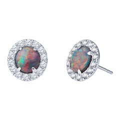 2.00ctw Natural Australian Opal and .86ctw Diamond Halo Studs, 18k White Gold