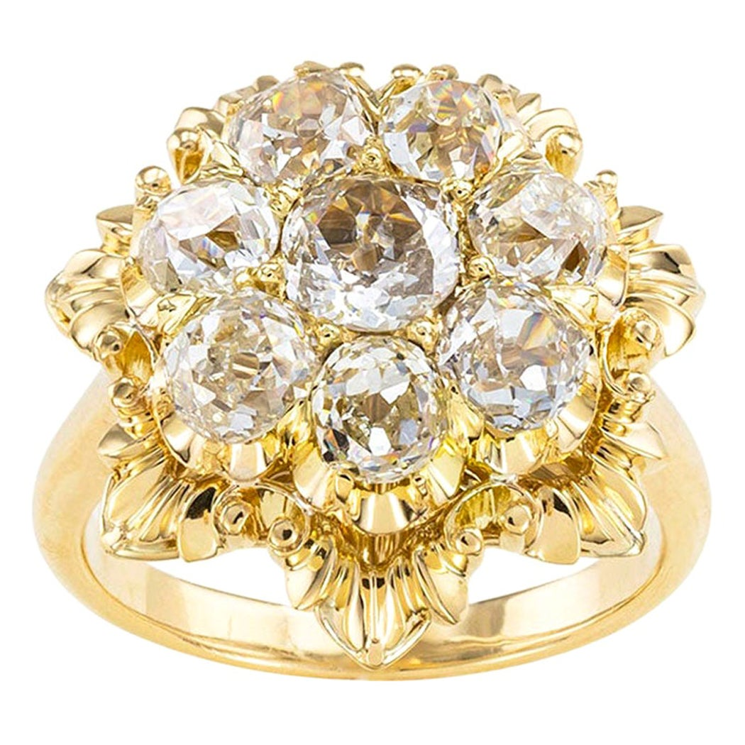 Antique Old Mine Cut Diamond Yellow Gold Cluster Ring
