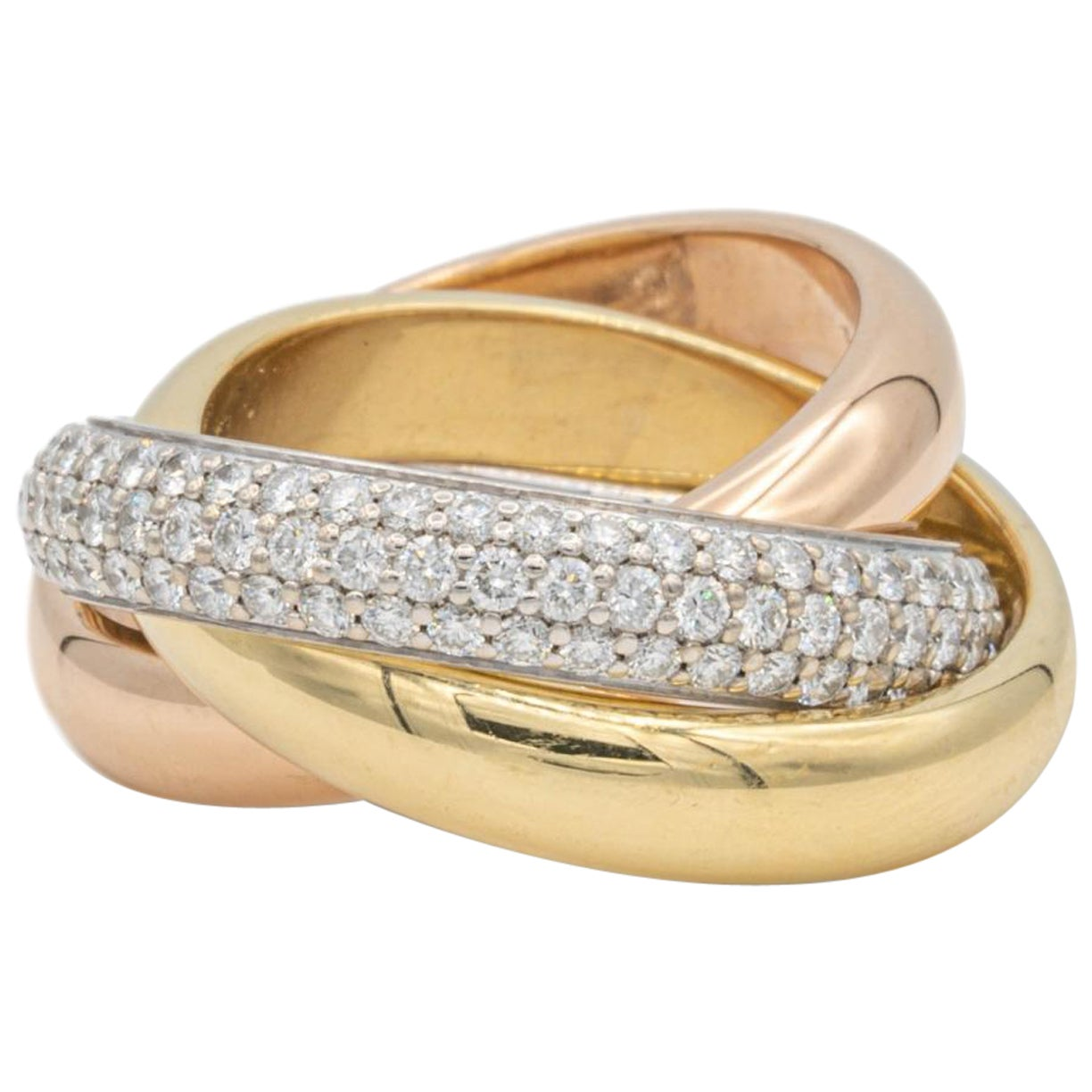 Cartier Classic Trinity Pave Rolling Diamond Ring 18K White Yellow Rose