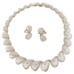 Estate White Mother of Pearl and Diamond Necklace and Earrings Set