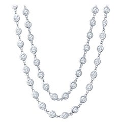 15.02ctw Round Brilliant Diamond by the Yard Necklace Set in 14k White Gold