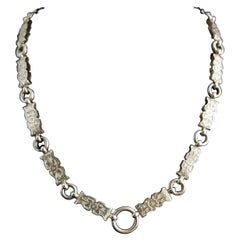 Victorian Silver Book Chain Necklace, Collar Necklace