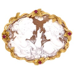 Hand Carved Portrait Shell Cameo Brooch Pin Pendant Estate Fine Jewelry