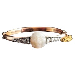 Victorian Diamond Man in the Moon Bangle, 18k Gold, Mother of Pearl