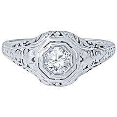 .33ctw Old European Cut Round Diamond Vintage Art Deco Engagement Ring