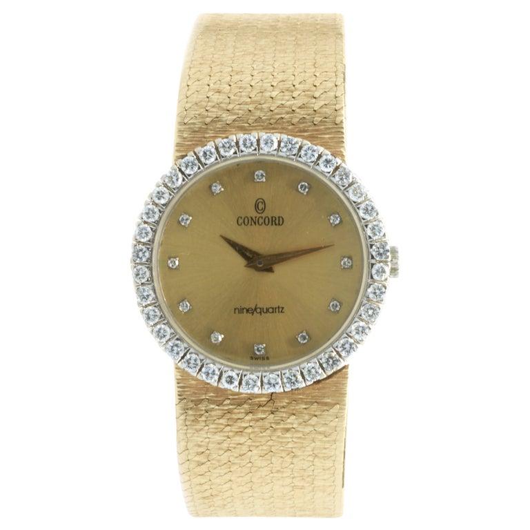 Concord 18 Karat Yellow Gold Vintage Ladies Diamond Watch For Sale