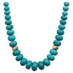 David Yurman Turquoise Bead Necklace with 18 Karat Yellow Gold