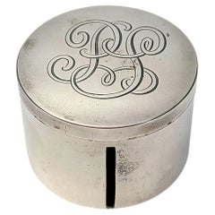 Currier and Roby Sterling Silver Round Stamp Dispenser Box with Monogram