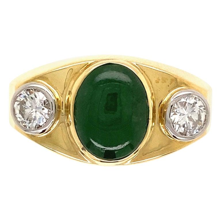 Fine Men's Jade and Diamond 3-Stone Gold Signet Ring Estate Fine Jewelry For Sale