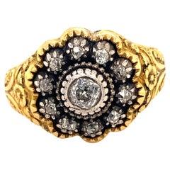 Antique Victorian .50 C Center Diamonds Platinum 18K Gold Men's Ring