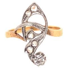 Original Art Deco Diamonds Platinum 18K Gold Swirl Ring