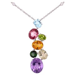 Asprey Multi-Gemstone and Diamond Gold Pendant Necklace Estate Fine Jewelry