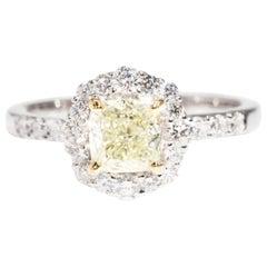 1.01 Carat Certified Yellow Diamond and 18 Carat Gold Engagement Ring