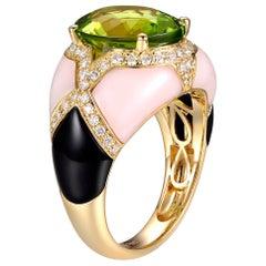 Peridot Pink Opal Onyx Diamond Cocktail Ring SR-05424