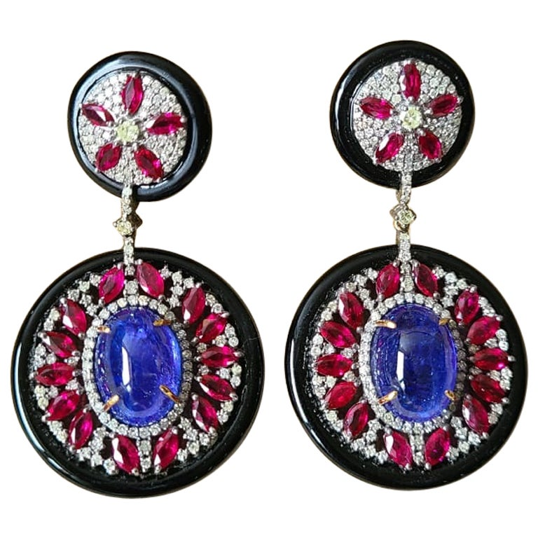 Black Onyx,Ruby,Tanzanite & Diamonds Victorian Earrings Set in 14K Gold & Silver