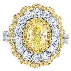 GIA Certified 2.0 Carat Fancy Yellow Diamond Ring in 18KT White Gold