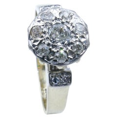 Antique 18ct White Gold Diamond Posy Ring