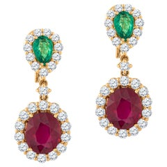 Emerald and Ruby Drop Earrings in 18KT Rose Gold