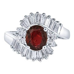 1.85 Carat Ruby and Diamond Art Deco Ring in 18KT White Gold