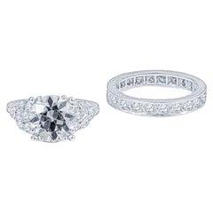 2.86 Carat Round Diamond Engagement Ring in Platinum