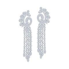 Belle Époque Style Diamond Chandelier Earrings in 18KT White Gold