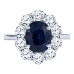4.08 Carat Sapphire & Diamond Floral Shaped Ring in 18KT White Gold