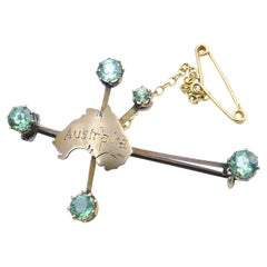 Antique 9ct Yellow Gold 'Australia' Brooch Studded with Tourmalines