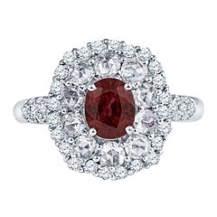 Elegant 1.21 Carat Ruby and Diamond Ring in 18KT White Gold