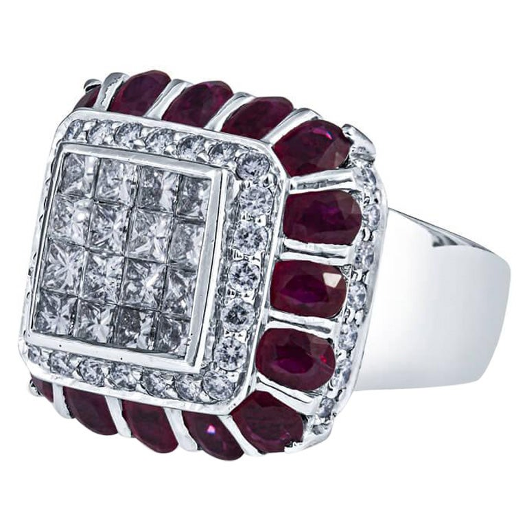 Ruby and Diamond Estate Ring in 18KT White Gold