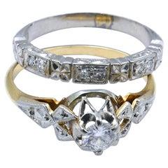 Antique Platinum & 18ct Yellow Gold & Diamond Bridal Suite