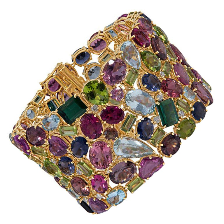 168.9 Carat Multi Colored Tourmaline and Diamond Bracelet in 18KT Yellow Gold For Sale