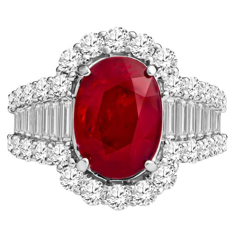 GRS Certified GRS Certified Ruby and Diamond Art Deco Cocktail Ring in 18KT Whit For Sale