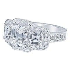 2.4 Carat Asscher Cut 3 Stone Diamond Engagement Ring