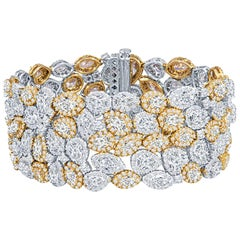 37.32 Carat Multi Shaped Diamond Bracelet in White and Yellow Gold