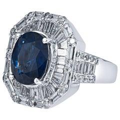 5.0 Carat Sapphire & Diamond Art Deco Ring in 18KT White Gold