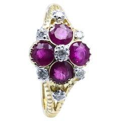 Modern 9ct Yellow & White Gold Ruby & Diamond 'Quatrafoil' Ring