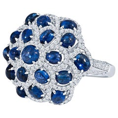 Cabochon Blue Sapphire and Diamond Cocktail Ring in 18KT White Gold