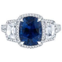 18KT White Gold 4.0 Carat Sapphire and Diamond Three-Stone Ring