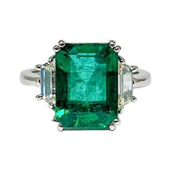 4.18 Carat GIA Certified Emerald and Diamond Ring