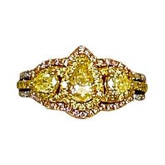 1.29 Carat Fancy Yellow Diamond and Pink Diamond Ring