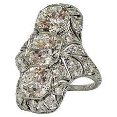 3 Round Cut Diamond Antique Style Cocktail Ring in Platinum