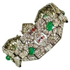 28.5 Carat Diamond and Emerald Antique Estate Bracelet