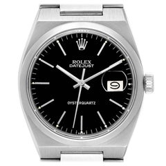 Rolex Oysterquartz Datejust Black Dial Vintage Steel Mens Watch 17000