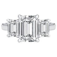 3.02 Carat GIA Certified Diamond Emerald Cut Three Stone Engagement Ring