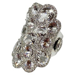 15.53 Carat White Sapphire and Diamond Cocktail Ring in 18KT White Gold